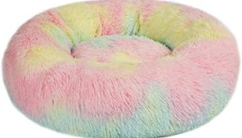 Hiputee Luxurious Round Soft Rabbit Fur Washable Pet Bed for Cat and Dog (XL, Multiple Color)