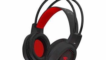 Probus K20 Gaming Headset for PS4, PS5, Xbox One, Nintendo Switch, PC, Mobile Phones, Laptop, 3.5mm Wired Headphone with Volume Control, Noise Cancelling Mic, LED Light (Red/Black)