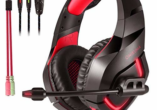 ONIKUMA K1B Wired Gaming Headset with Stereo Surround Sound, Boom Mic, LED Light & 3.5 mm Adapter, Compatible for Mobiles, PC, Laptop, Tablets, PS4, PS5 and Xbox Consoles (Black/Red)