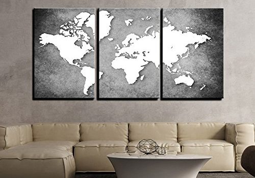 PAPER PLANE DESIGN 3 Panels World Map Wall Painting (30 inch x 54 inch)