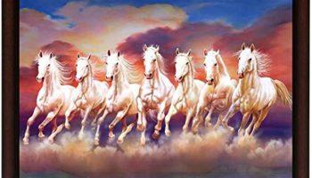 Masstone Seven Running Horse Vastu UV Digital Re-Print Framed Wall Painting (20x14 inch)