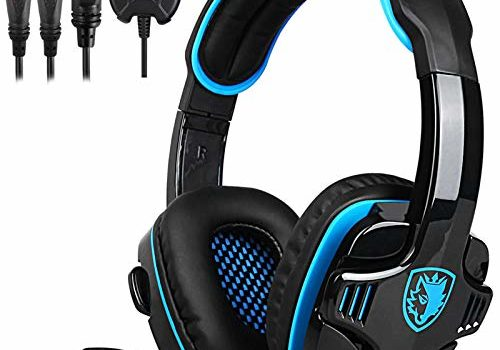 SA-708GT 3.5mm Gaming Headphone w/Mic Noise Cancellation Music Stereo Headset Black-Blue Upgraded Version of SA-708 for PS4 Tablet PC Mobile Phones