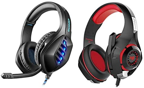 Cosmic Byte GS430 Gaming Headphone, 7 Color RGB LED and Microphone (Black) + Cosmic Byte GS410 Headphones with Mic (Black/Red)