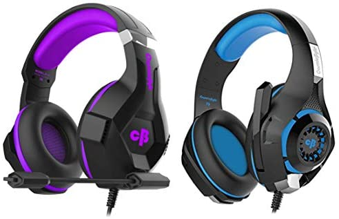 Cosmic Byte H11 Gaming Headset with Microphone (Black/Purple) + Cosmic Byte GS410 Headphones with Mic and for PS4, Xbox One, Laptop, PC, iPhone and Android Phones (