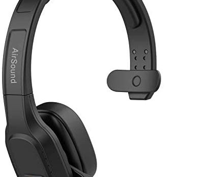 AirSound M100 Pro Bluetooth Wireless Headset | Flexible Microphone, for Conference Calls, 32 Hr Talk Time, CVC 8.0 Noise-Cancelling On-Ear for Office Home Business Online Meeting, Skype Call Centre.