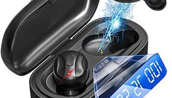 Earbuds 5.0 Mini Headphones, IPX5 Waterproof Hi-Fi Stereo Built-in Mic Headset, in-Ear Earphones with Charging Case for Gym