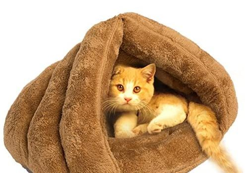 Pets Empire Floss Fabric and Polyester Bed Warm House Sleeping Bag for Puppy Cat Dog Rabbit Small Animals (Colour May Vary)