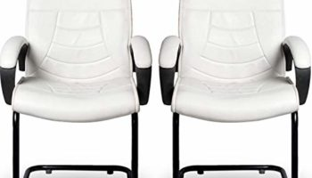 Giantwood FlorisW High Back Support White Ergonomic Staff Visitor Reading Executive Office Chair Set of 2 for Home Computer Study Sitting Chairs
