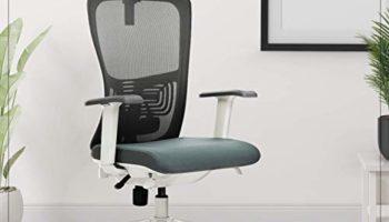 Kepler Brooks Altius Mesh High Back Adjustable, Ergonomic & Reclining Office/Desk Chair (White & Grey)