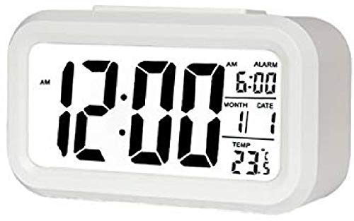 Saree House Vidhi Creation Digital Smart Back Light Battery Operated Alarm Table Clock with Automatic Sensor, Date and Temperature (White)