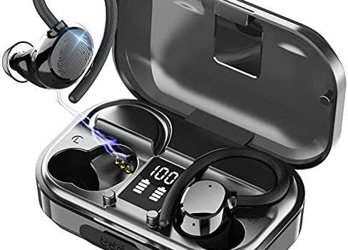 2021 Wireless Earbuds Sports, iporachx Bluetooth Headphones 56H Play Back Earphones in Ear, IPX7 Waterproof Deep Bass True Wireless Ear Buds with Earhooks Built in Mic LED Display Headset for Workout