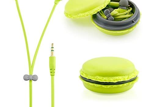 GEARONIC TM Cute 3.5mm in Ear Earphones Earbuds Headset with Macaroon Ear Buds Organizer Box Case Compatible with Smart Phones PC MP3 (Green)