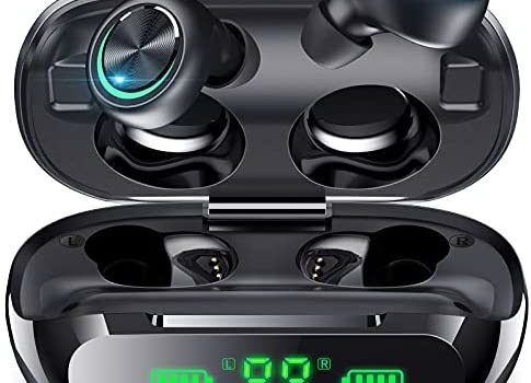 Wireless Earbuds Bluetooth Headphones LED Display Noise Canceling IPX5 Waterproof Earphones in-Ear 200H Play Time Hi-Fi Stereo Sound Headsets for Sports Work Home Office