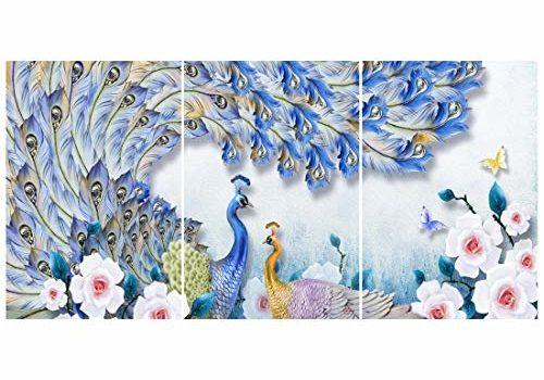 Rangoli Wood Birds Painting, Multicolour, Abstract, 12x19Inch